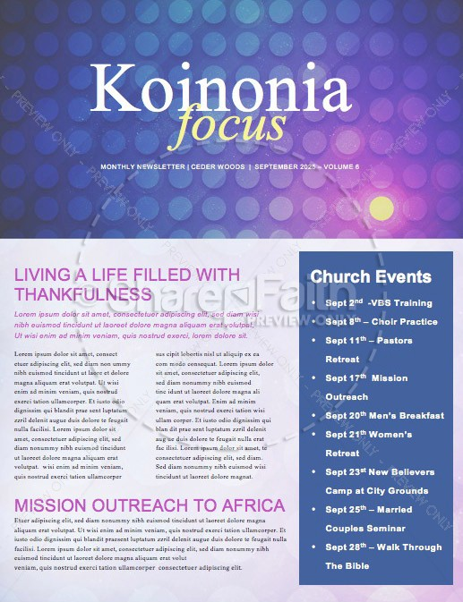 Set Apart Church Newsletter Template | page 1