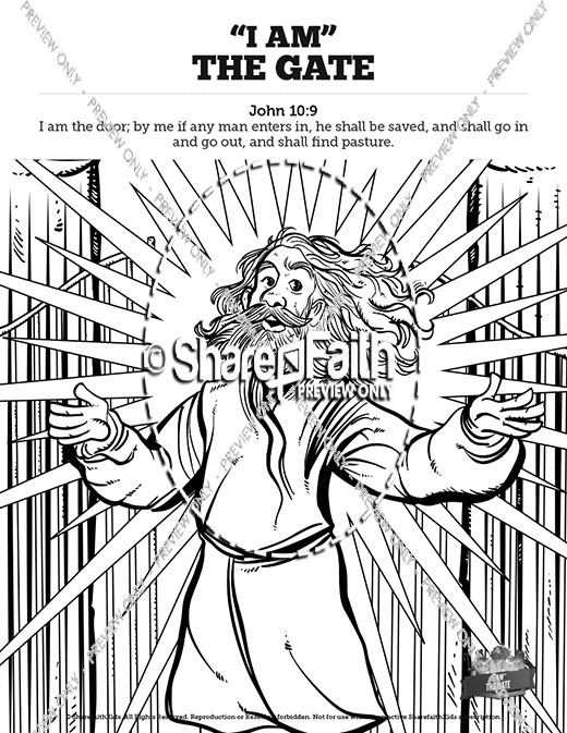 John 10 I am the Door Sunday School Coloring Pages