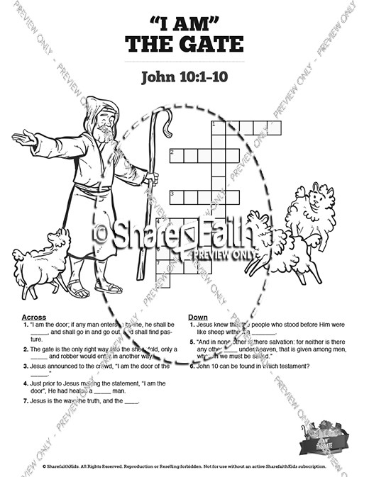 John 10 I am the Door Sunday School Crossword Puzzles