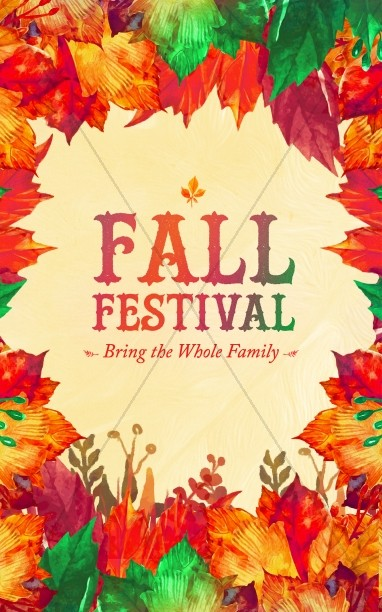 Fall Festival Autumn Leaves Church Bulletin