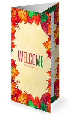Fall Festival Autumn Leaves Church Trifold Bulletin