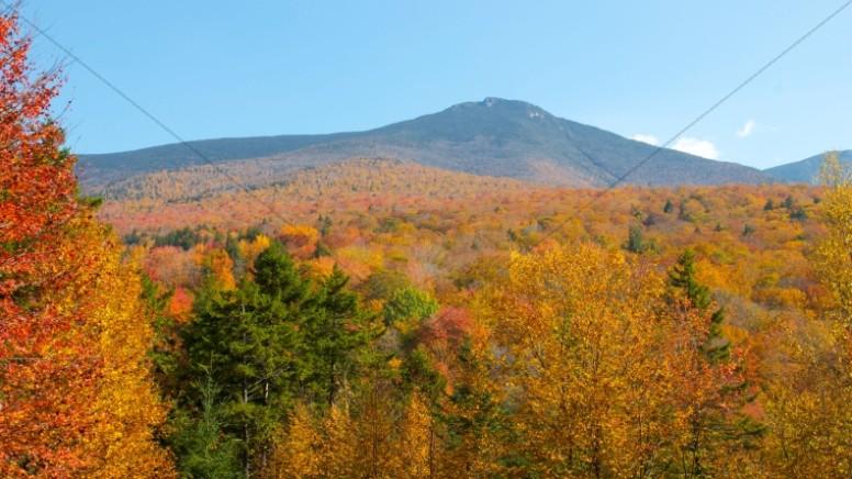 Fall Mountains Church Stock Photo