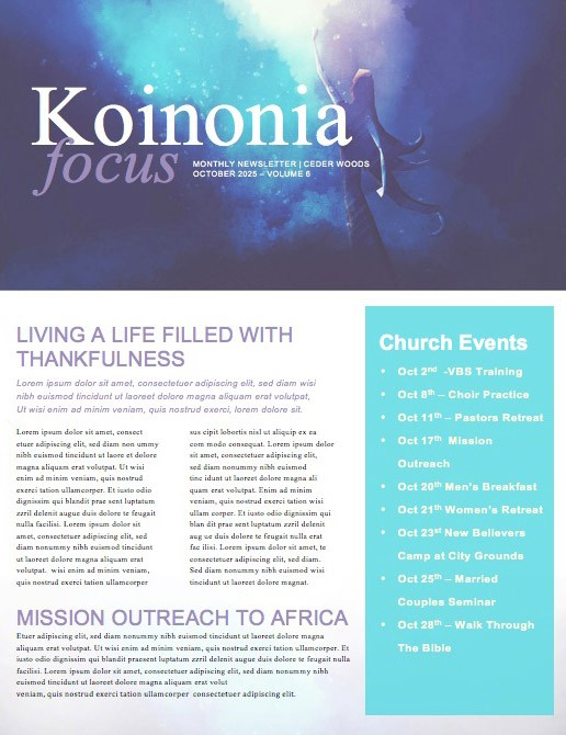 Beauty From The Ashes Church Newsletter Template