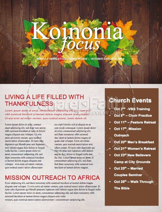 Fall Harvest Party Church Newsletter Template