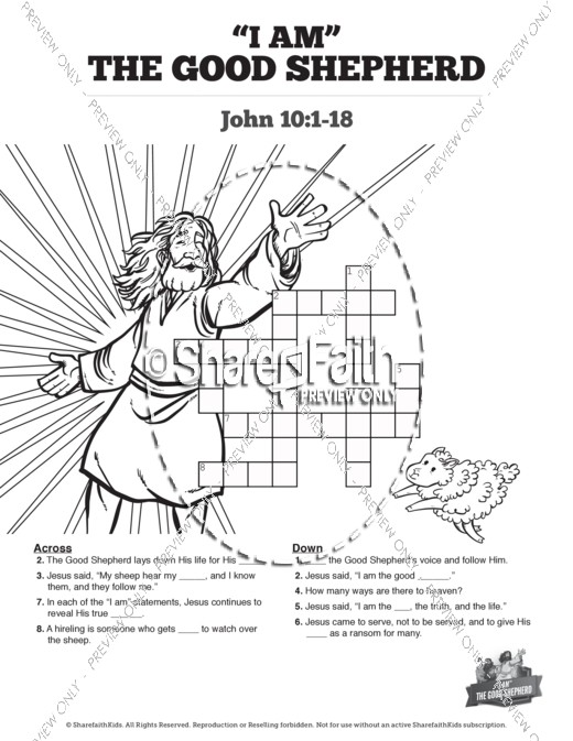 John 10 The Good Shepherd Sunday School Crossword Puzzles