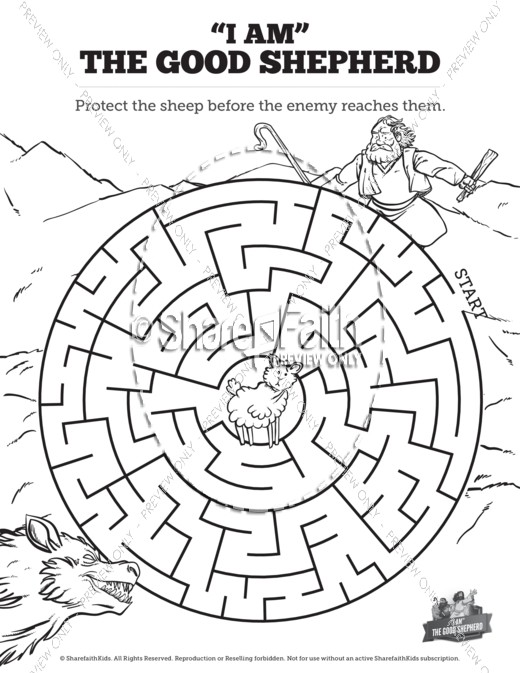 John 10 The Good Shepherd Bible Mazes