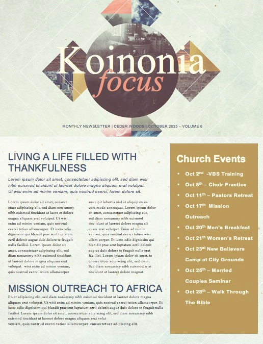 Spiritual Habits Church Newsletter Template