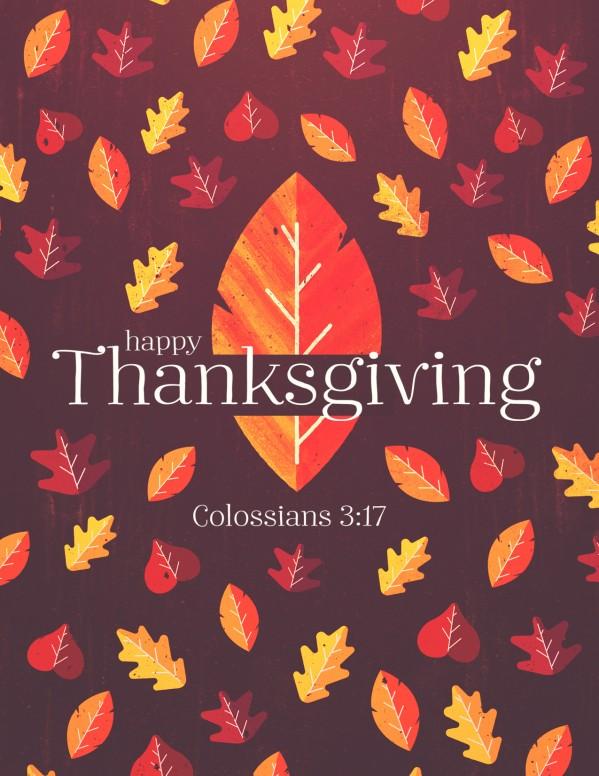 Thanksgiving Leaves Church Flyer