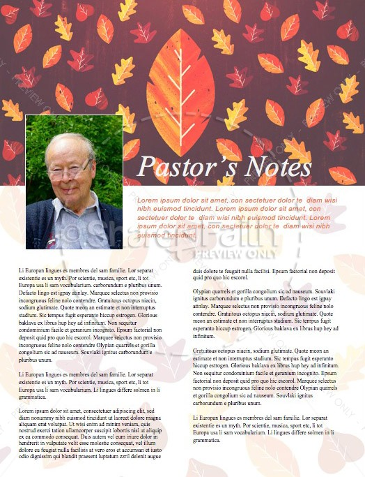 Thanksgiving Leaves Church Newsletter Template