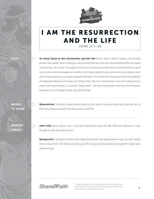 John 11 I am the Resurrection and the Life Curriculum