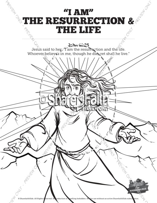 John 11 I Am The Resurrection And Life Sunday School Coloring Pages