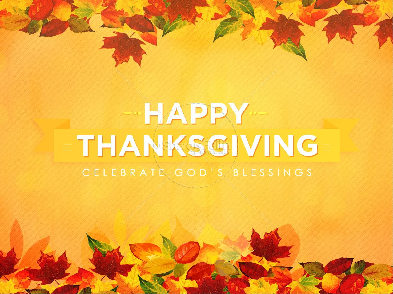 Happy Thanksgiving Blessings Sermon Powerpoint Fall Thanksgiving Powerpoints