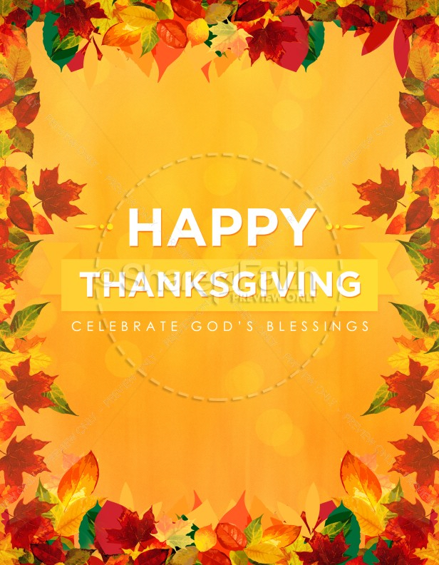 Happy Thanksgiving Blessings Church Flyer