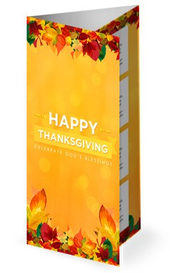 Happy Thanksgiving Blessings Church Trifold Bulletin