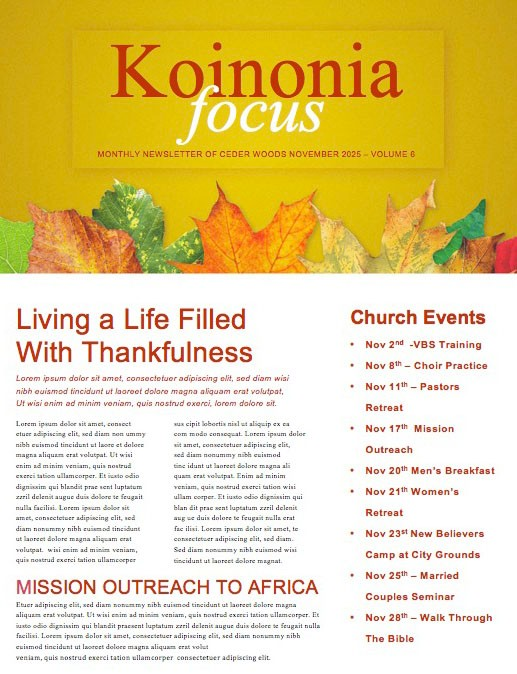 Fall Back Daylight Saving Time Church Newsletter