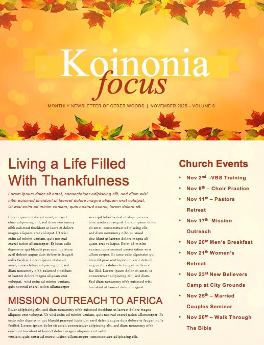 Happy Thanksgiving Blessings Church Newsletter