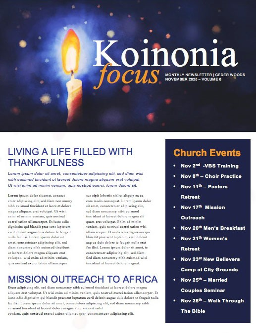 Christmas Eve Service Church Newsletter