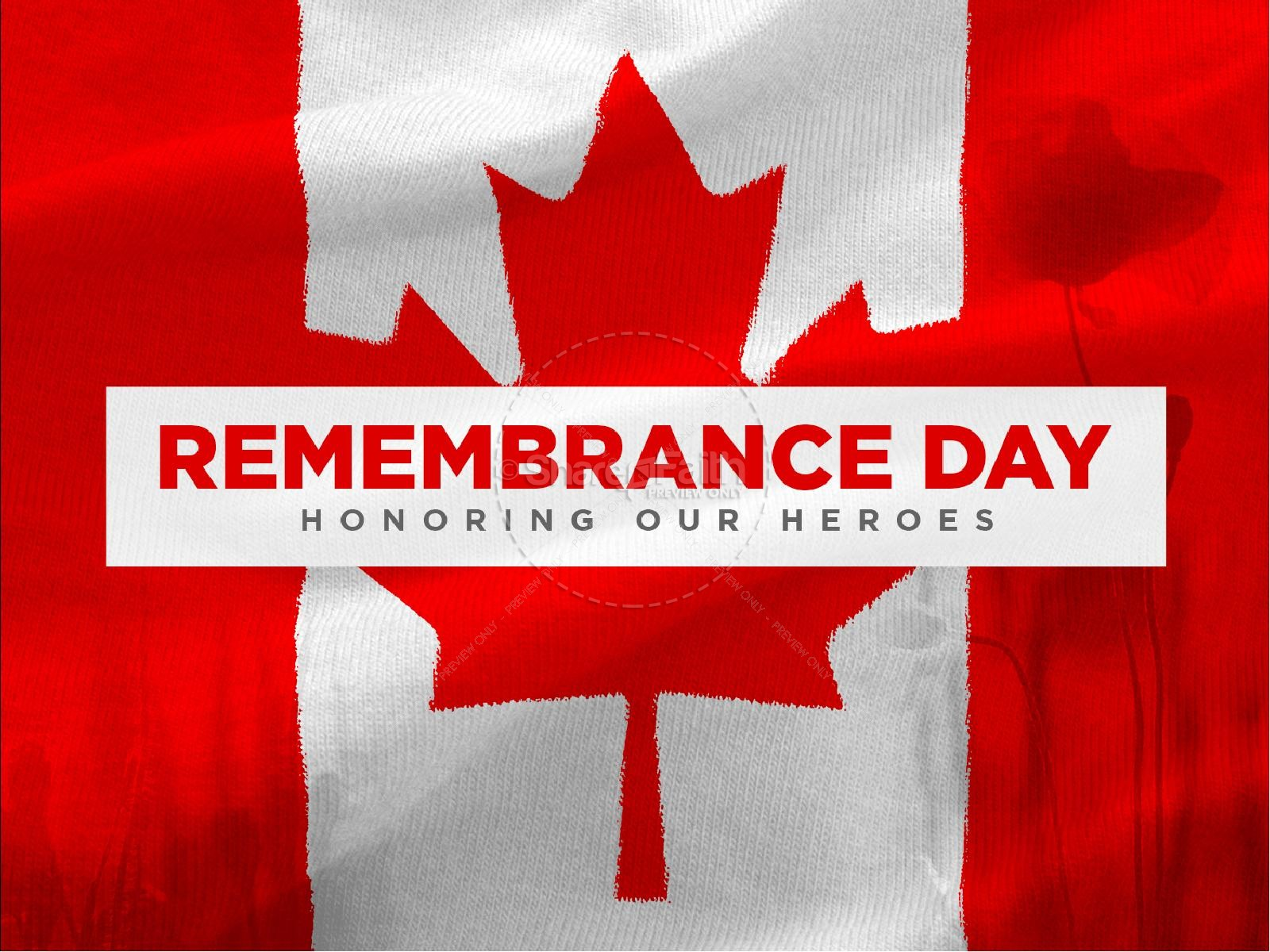 Remembrance Day Canada Flag Church PowerPoint