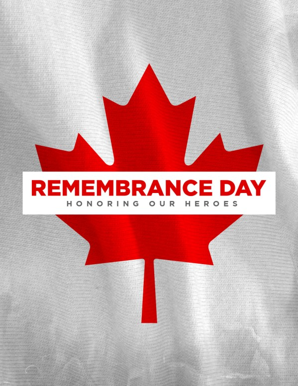 Remembrance Day Canada Flag Church Flyer