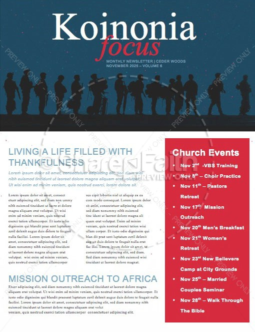 Veterans Day Honoring Those Who Served Church Newsletter | page 1