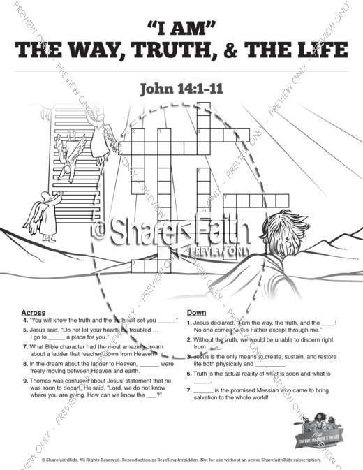 John 14 The Way the Truth and the Life Sunday School Crossword Puzzles
