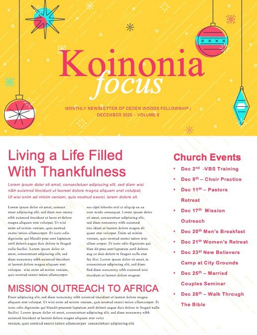 Merry Christmas Ornaments Church Newsletter