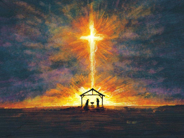 Christmas Background Christian.A Child Is Born Christmas Cross Background Worship Backgrounds