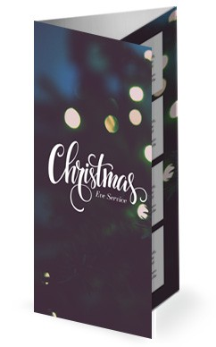 Christmas Tree Lights Church Trifold Bulletin