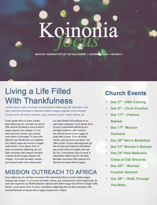 Christmas Tree Lights Church Newsletter