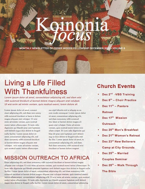 Christmas Unwrapped Church Newsletter