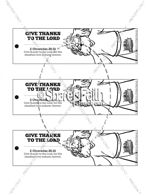 2 Chronicles 20 Give Thanks to the Lord Bible Bookmarks