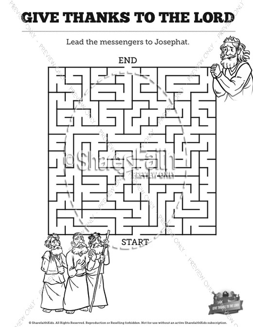 2 Chronicles 20 Give Thanks to the Lord Bible Mazes