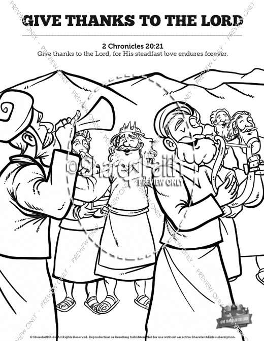 2 Chronicles 20 Give Thanks to the Lord Sunday School Coloring Pages