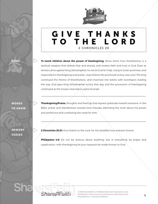 2 Chronicles 20 Give Thanks to the Lord Curriculum