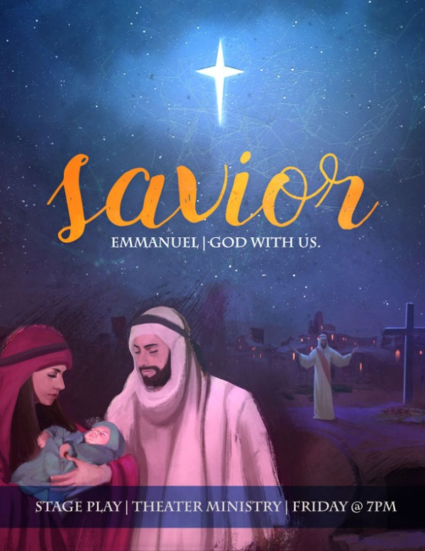 A Savior is Born Christmas Church Flyer