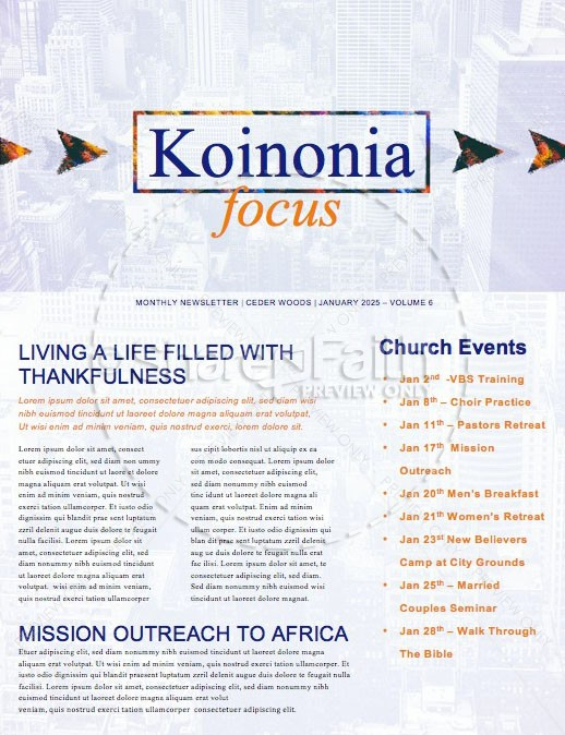 Do Over Church Newsletter Template | page 1