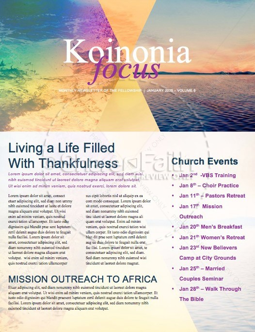 New Year New Me Church Newsletter