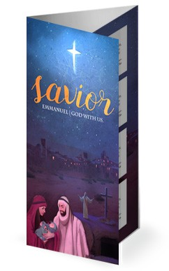 A Savior is Born Christmas Church Trifold Bulletin