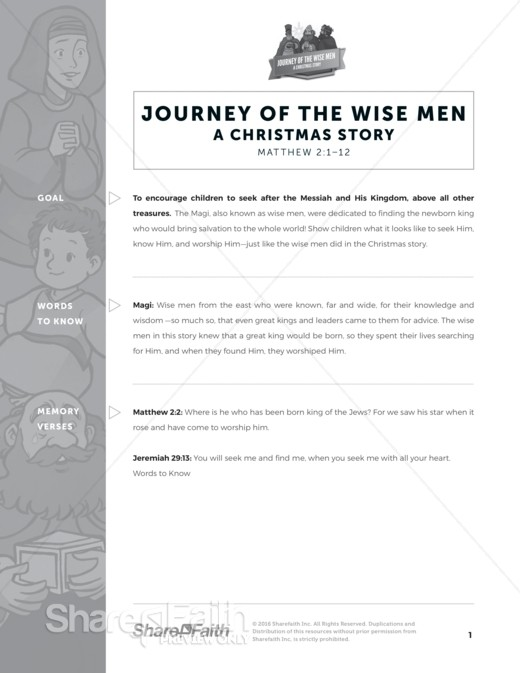 Matthew 2 Journey of the Wise Men: The Magi Christmas Story Curriculum