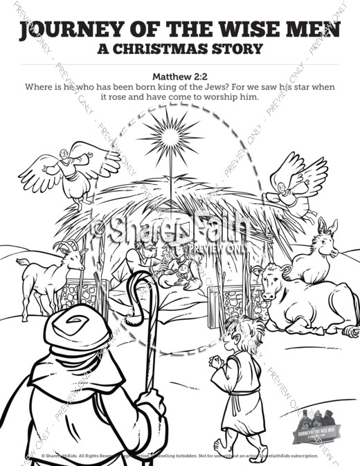Matthew 2 Journey of the Wise Men: The Magi Christmas Story Sunday School Coloring Pages