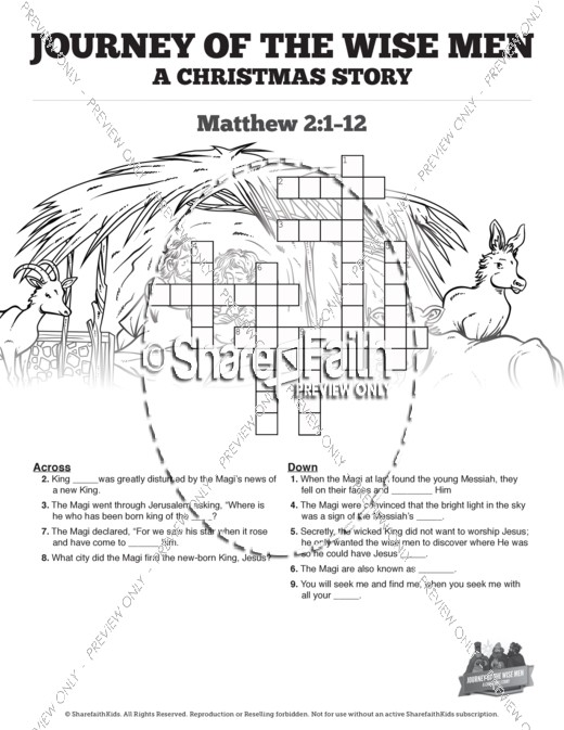 Matthew 2 Journey of the Wise Men: The Magi Christmas Story Sunday School Crossword Puzzles