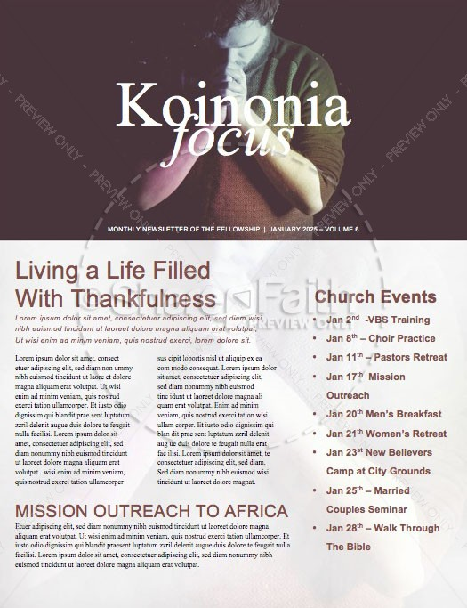 Pray Without Ceasing Church Newsletter