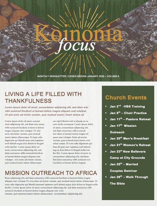 Winter Retreat Church Newsletter