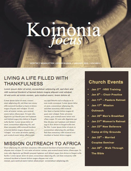 Scripture On Praying Church Newsletter