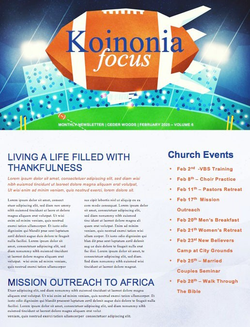Super Sunday Big Game Church Newsletter
