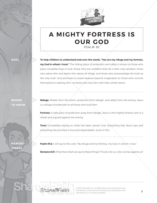 Psalm 91 A Mighty Fortress is our God Curriculum