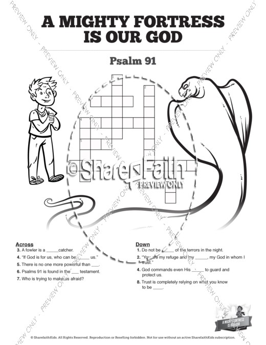 Psalm 91 A Mighty Fortress is our God Sunday School Crossword Puzzles