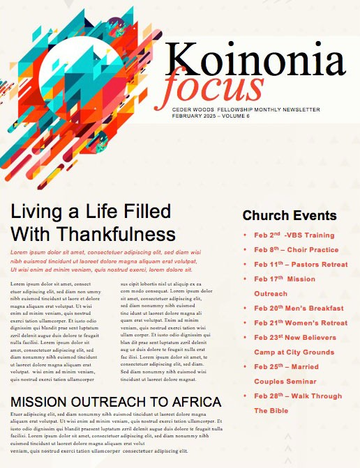 Faith In Action Church Newsletter