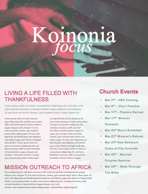 Sing to the Lord A New Song Church Newsletter