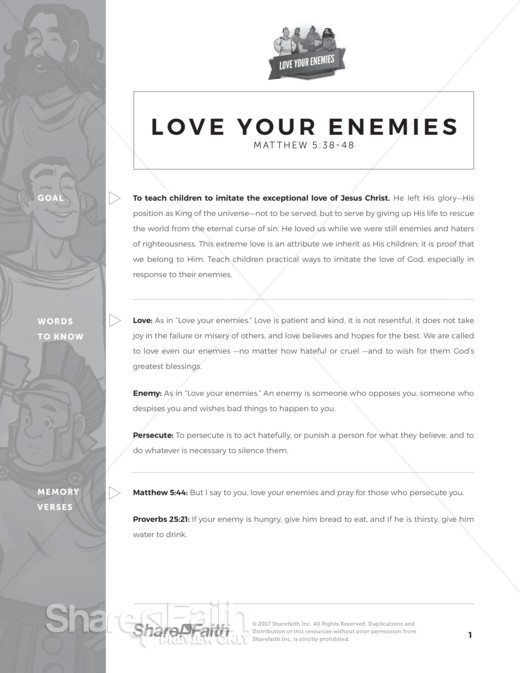 Matthew 5 Love Your Enemies Curriculum